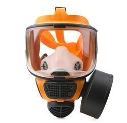 Orange gas mask, Chemical protective mask single filter isolated on white background