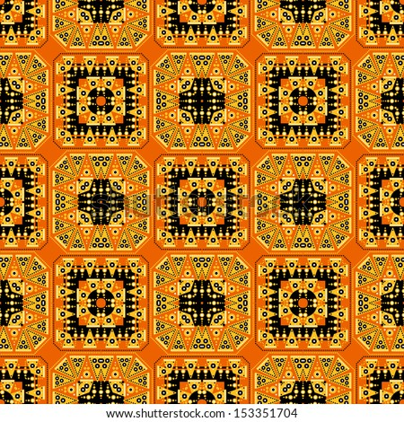 orange geometric seamless (ornamental tribal pattern)