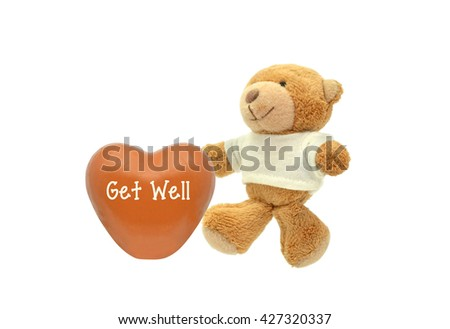 Orange Get Well Heart Teddy Bear Stuffed Animal toy isolated on white background #427320337