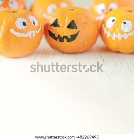 Orange ghost of Halloween, soft focus and color toned.Halloween concept background with copyspace for text message.  #482269495
