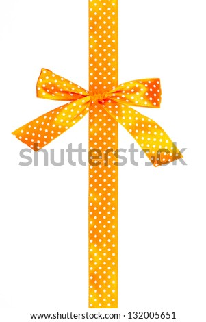 Orange gift bow and ribbon on white background