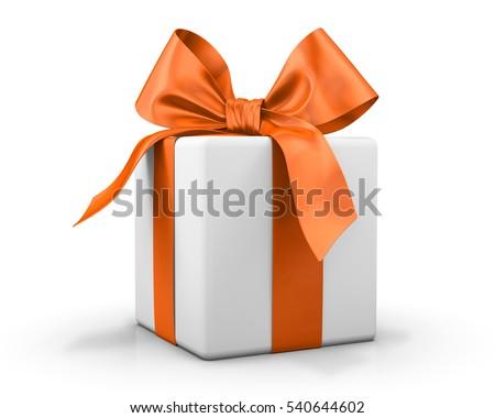 orange gift box ribbon 3d  rendering