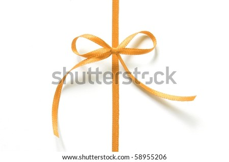 orange gift ribbon with bow isolated on white background