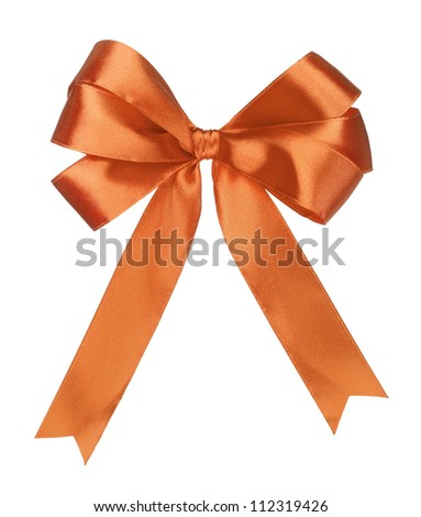 orange gift satin ribbon bow on white background