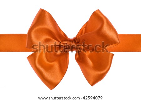 orange gift satin ribbon bow on white background