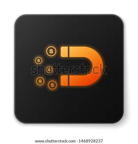 Orange glowing Magnet with money icon isolated on white background. Concept of attracting investments, money. Big business profit attraction and success. Black square button