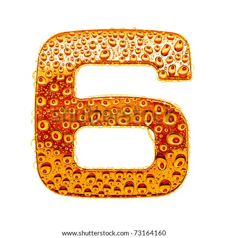 Orange gold alphabet symbol - digit 6. Water splashes and drops on glossy metal. Isolated on white