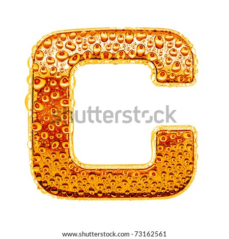 Orange gold alphabet symbol - letter C. Water splashes and drops on glossy metal. Isolated on white