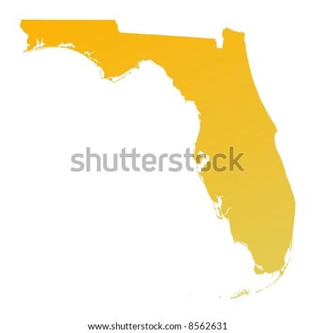 Orange gradient Florida map, USA. Detailed, Mercator projection.