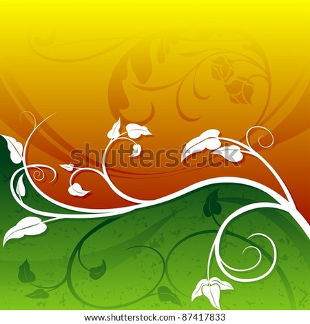 Orange-Green Floral - colored abstract illustration