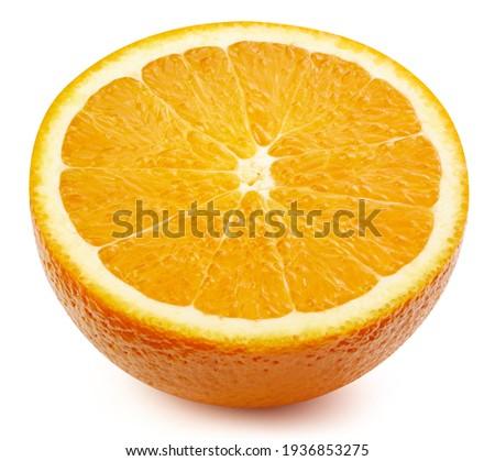 Orange half isolated on white background. Orange on white. Orange with clipping path