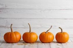 Orange halloween pumpkins on white planks, holiday decoration