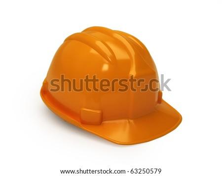 Orange hard hat isolated on white - stock photo