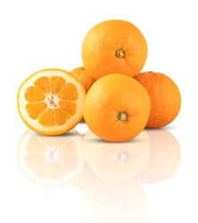 orange have shadows Mirror reflection isolated on white background and clipping path