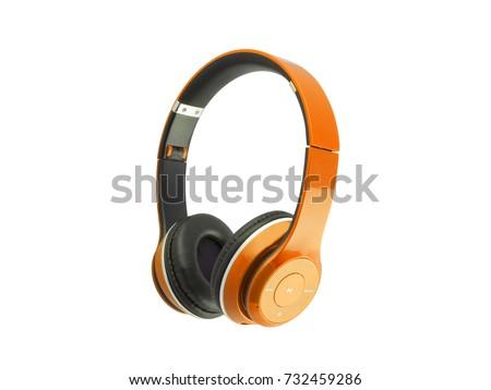 Orange headphones isolated on a white background