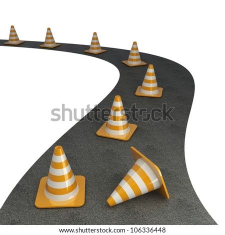 Orange highway traffic cone with white stripes on road isolated on white background High resolution 3d