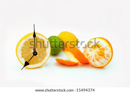 Orange hours awake you and call to drink juice