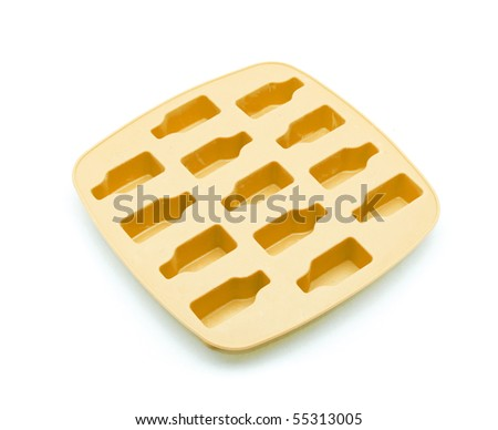 Orange ice tray isolated on white background