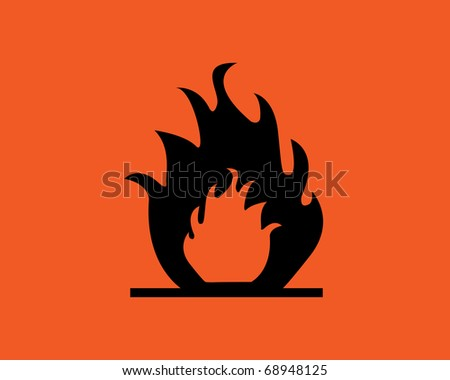 Orange inflammable symbol.Fire