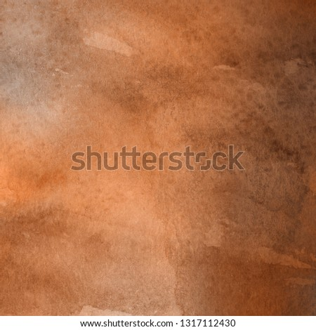 Orange ink and watercolor textures on white paper background. Paint leaks and ombre effects. Hand painted abstract image. #1317112430
