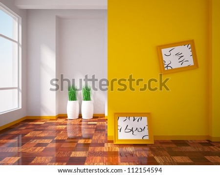 orange interior with pictures on the wall