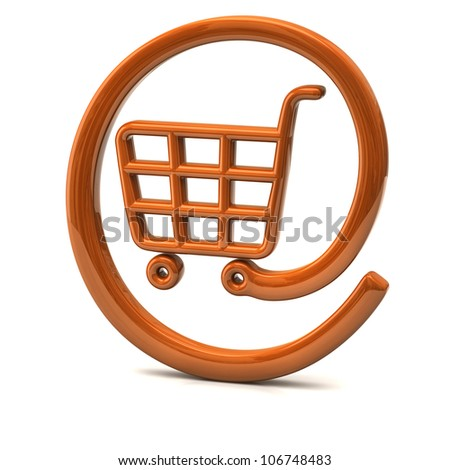 Orange internet on-line shopping icon 3d