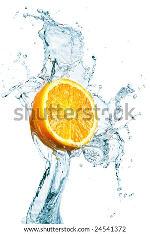orange is dropped into water splash on white