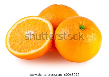 Orange isolated on a white background. Fresh fruits Isolated orange collection.