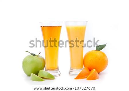 Orange juice and apple juice against a white background