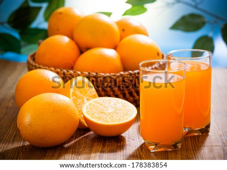Orange juice and fruits #178383854