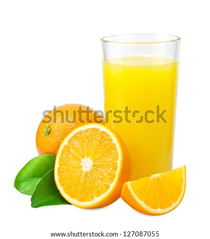 Shutterstock Orange juice and oranges with leaves on white background