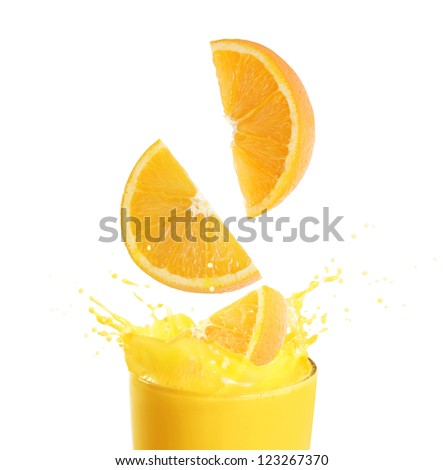 Orange juice and slices isolated on white