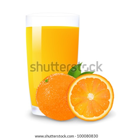 Orange Juice And Slices Of Orange, Isolated On White Background