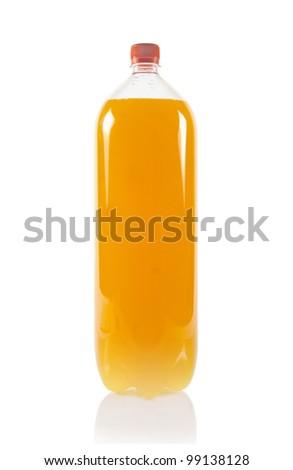 Orange juice bottle isolated on white