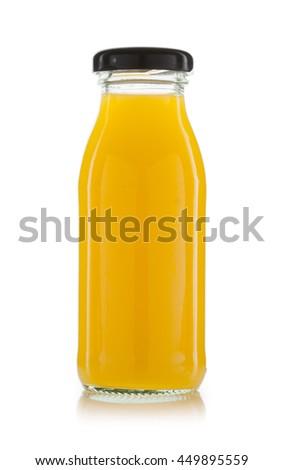 orange juice bottles isolated on white background #449895559