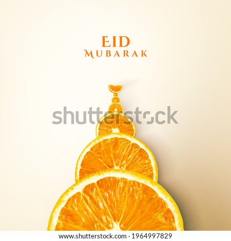 Orange Juice Eid Mubarak and Ramadan Creative Concept Design. Eid moon and Mosque made by Orange. Orange slice and juice glass isolate view. orange slice manipulation. Mosque shape citrus White space.