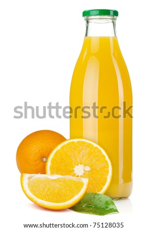 Orange juice glass bottle and oranges. Isolated on white background