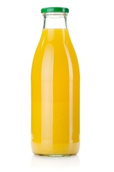 Orange juice glass bottle. Isolated on white background
