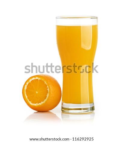 Orange juice glass isolated on white - stock photo