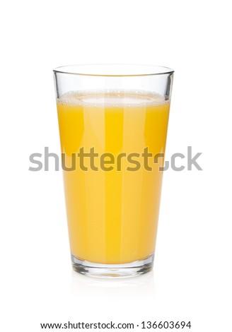 Orange juice glass. Isolated on white background