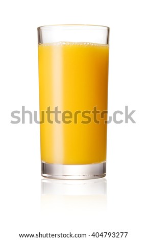 Orange juice glass, isolated on white background #404793277
