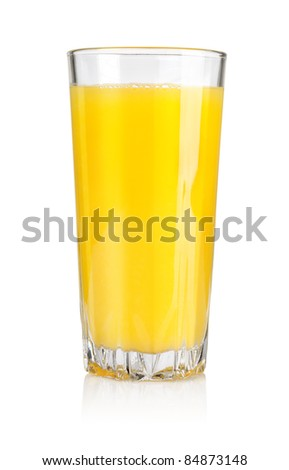 Orange juice in a glass isolated on white background. Clipping path