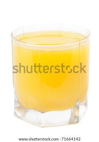 Orange juice in a glass isolated over white