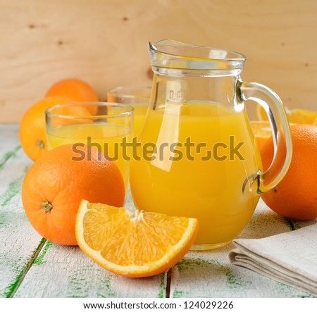orange juice in a jug on a white table