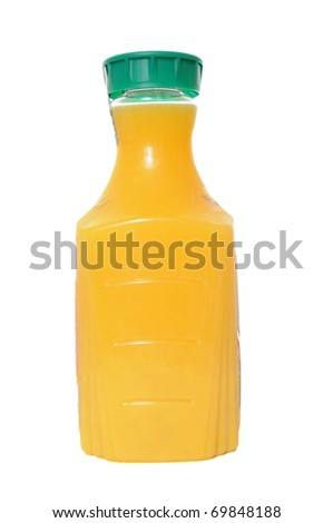 Orange juice in a plastic container jug isolated on a white background.