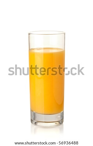 Orange juice in highball glass. Isolated on white background
