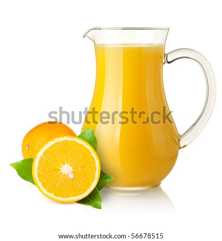 Orange juice in pitcher and oranges. Isolated on white background