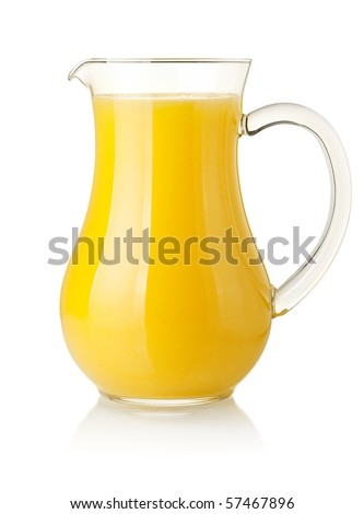 Orange juice in pitcher. Isolated on white background