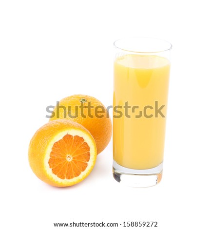 Orange juice in the glass and slice. Isolated on a white background.