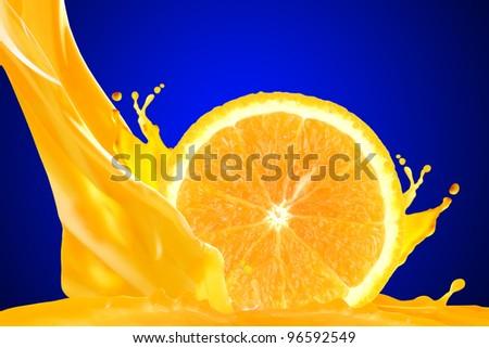 Orange juice isolated on blue background